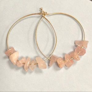 Gold filled and rose quartz earrings